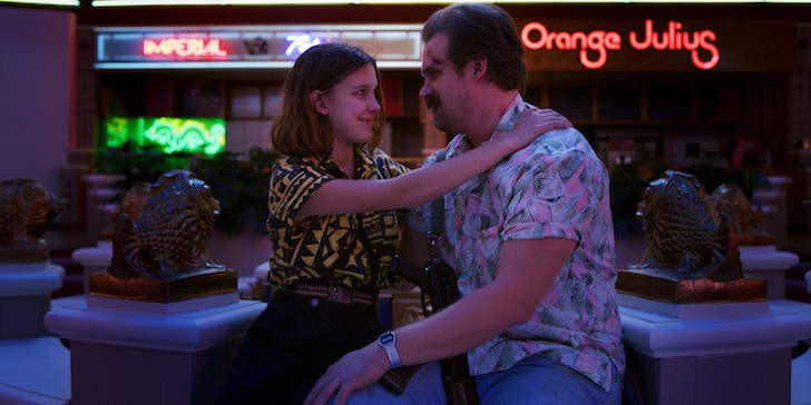 Millie Bobby Brown and David Harbour in Stranger Things - IMAGE COURTESY NETFLIX