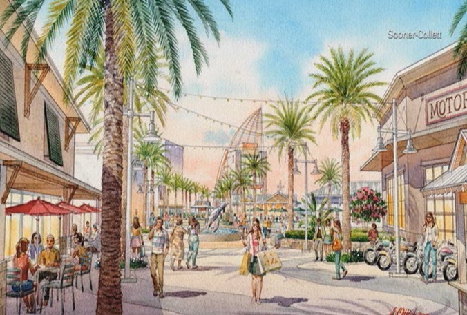 A 2015 rendering of a future mixed-use entertainment complex proposed for Port Canaveral - PHOTO VIA SOONER-COLLETT