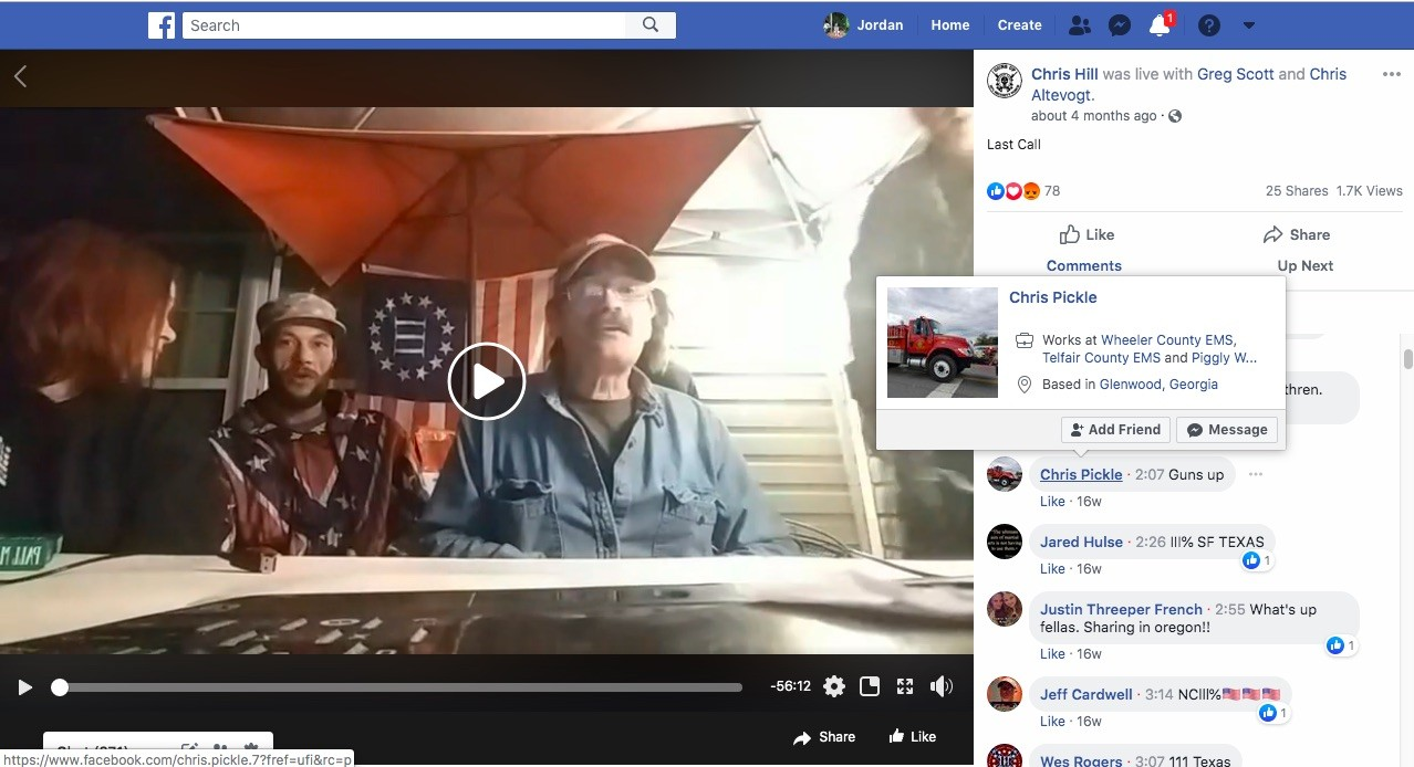 Jason Randall, an EMT with Powell County EMS in Kentucky, comments during a Facebook Live video hosted by Chris Hill in late July. - SCREENGRAB VIA JORDAN GREEN/TRIAD CITY BEAT