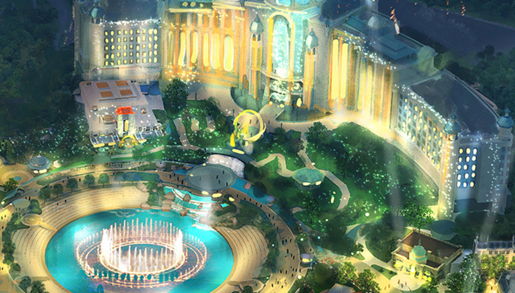 The Epic Universe hotel and fountain show amphitheater - IMAGE VIA NBCUNIVERSAL