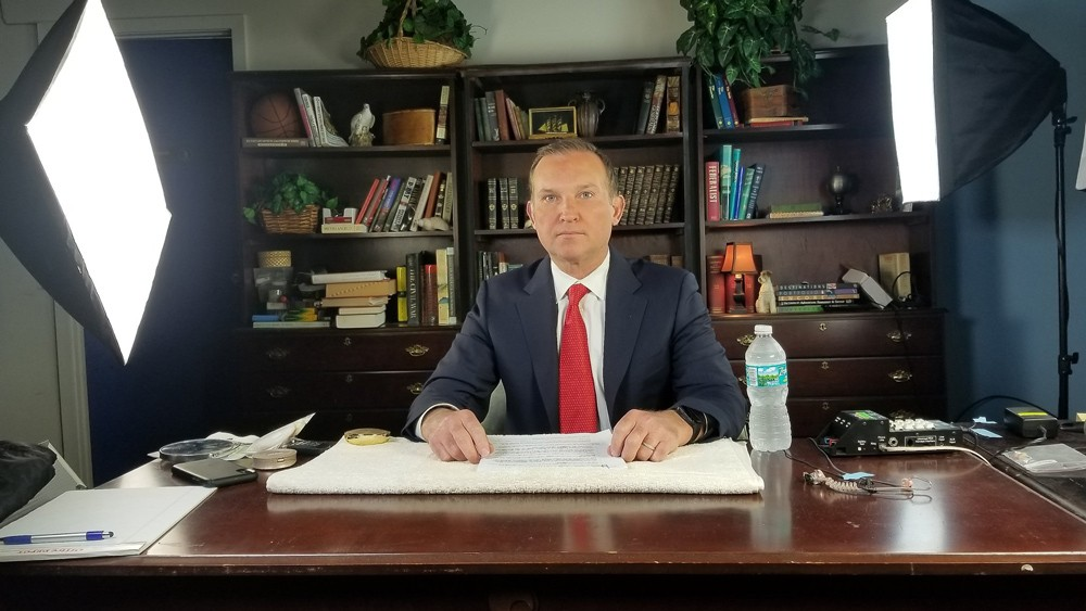 Jacksonville Mayor Lenny Curry prepares for an April 17 interview with Neil Cavuto on Fox Business - SCREENSHOT VIA CITY OF JACKSONVILLE/YOUTUBE