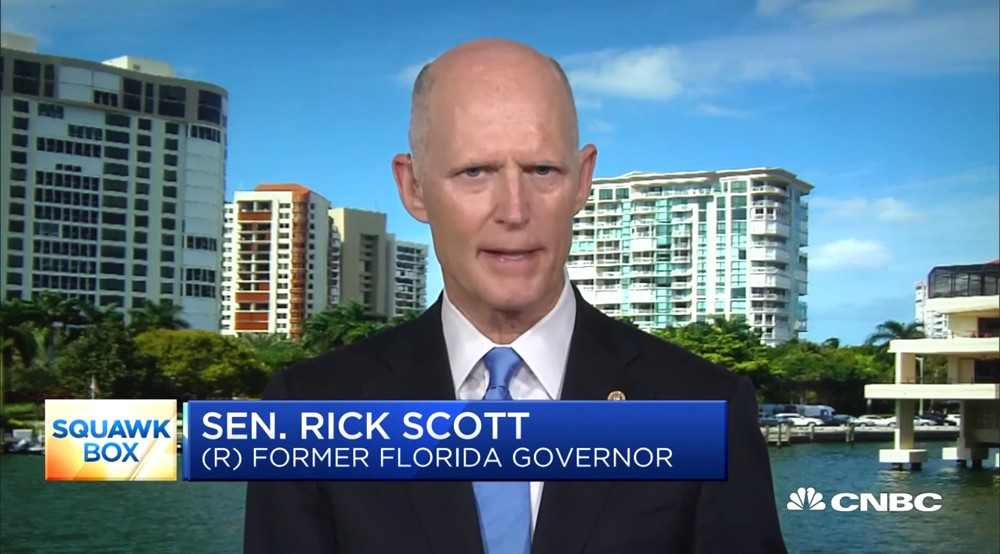U.S. Sen. Rick Scott on Monday - SCREENSHOT VIA CNBC/YOUTUBE