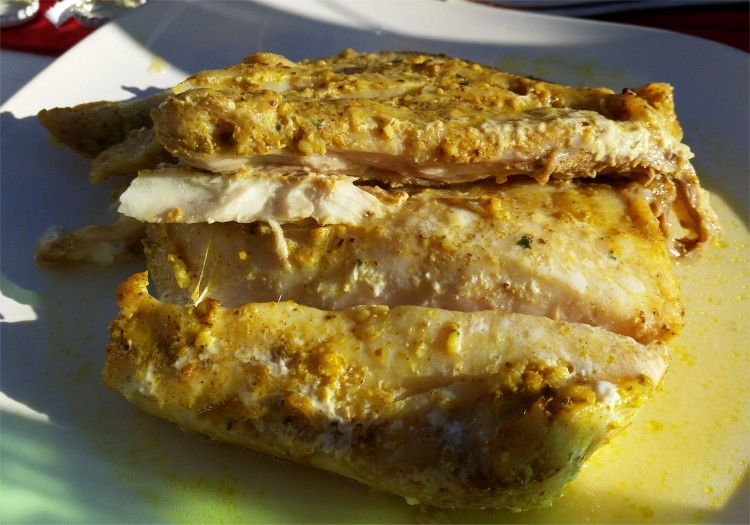 Roasted corvina with spices and olive oil (Iraq)