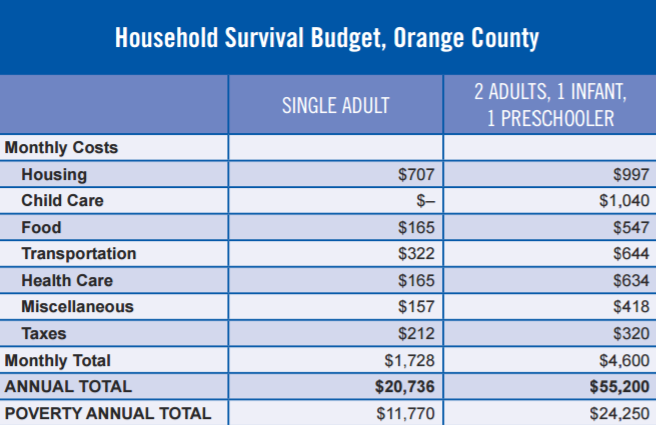 HOUSEHOLD SURVIVAL BUDGET FROM ALICE
