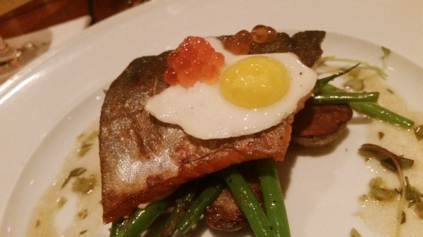 "Red trout and roe | fingerling potatoes | haricots verts | quail egg | pickled vinaigrette (paired with Princip Friulano and Ceretto Arneis ""Blangé"")"