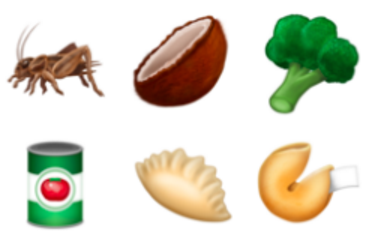 Six of the food (?) emojis to be released this summer. The rest found below. - IMAGE COURTESY SLATE.COM