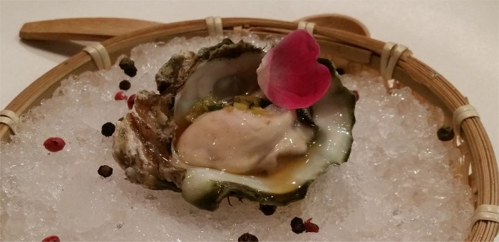 1. Kumamoto oysters, cucumber mignonette, peppercorns