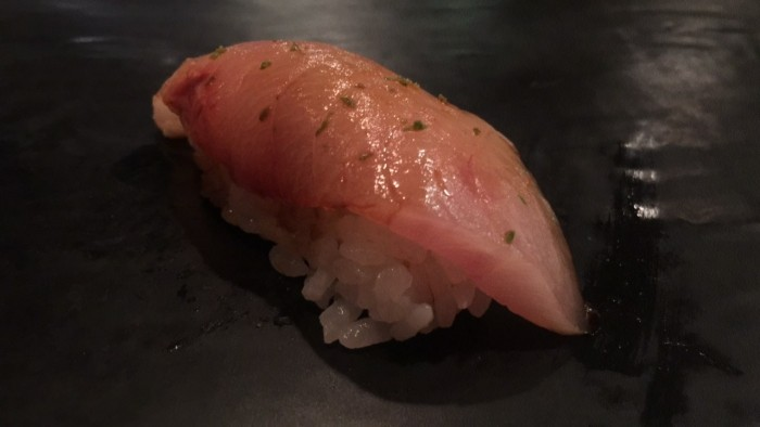 10. Nigiri of Japanese kampachi