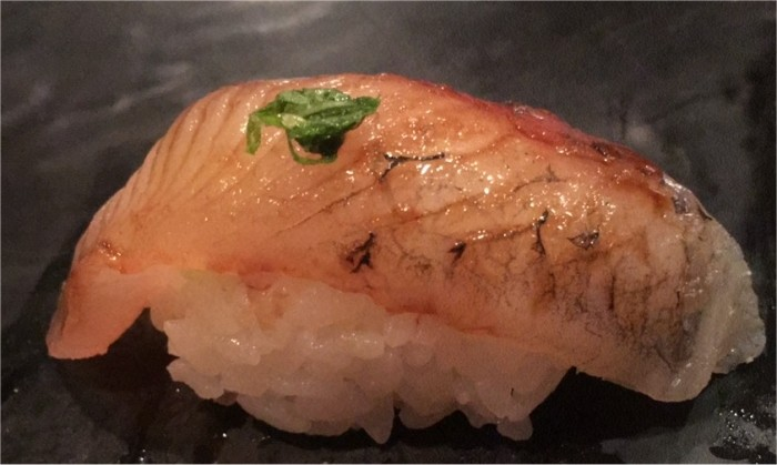 12. Tobiuo (Japanese flying fish), oba (Japanese mint) leaf