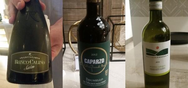 Wines: Franciacorta Brut Satèn | 2012 Caparzo Brunello | 2015 Matteo Correggia  Roero Arneis