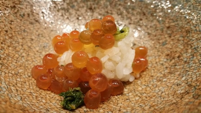 Yuzu marinated ikura, nuka pickled daikon leaves