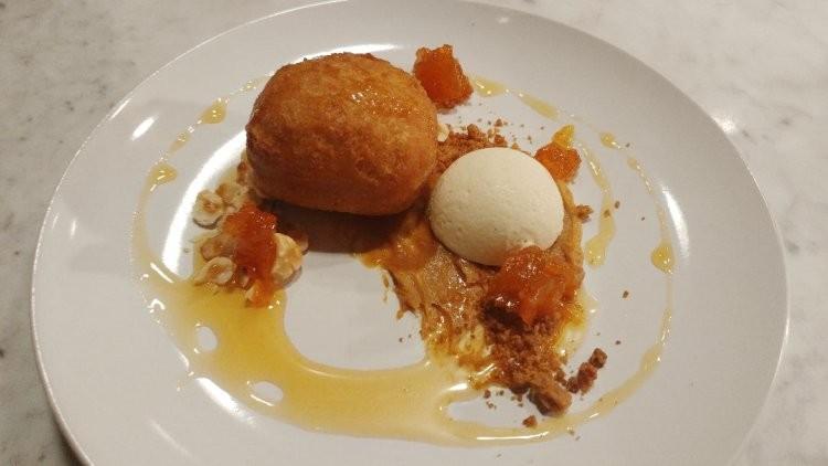 Pumpkin ganache, sweet potato doughnut, candied squash, dulcey crumb, oatmeal semifreddo (Carlucci) - FAIYAZ KARA