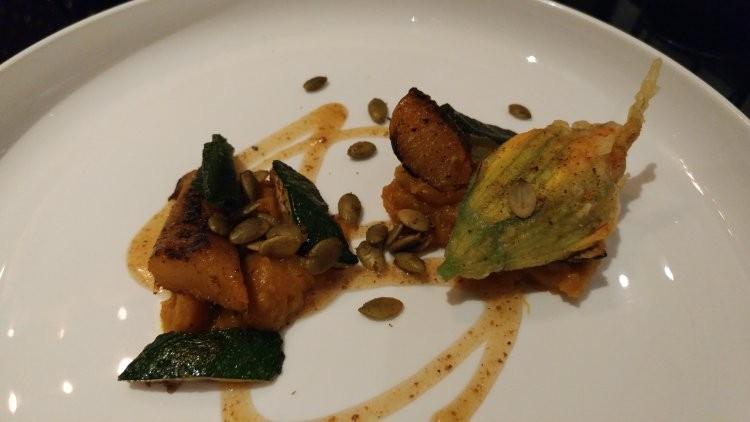 Calabaza talkari, squash blossom en tempura, ricotta, brown-butter honey, curried pepitas - FAIYAZ KARA
