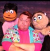 "Joshua ""Ginger Minj"" Eads drops his drag to play ""Brian"" in 'Avenue Q' with Derek Critzer as ""Princeton"" and Savannah Pedersen as ""Kate Monster."""