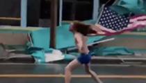 Shirtless Florida man travels to Myrtle Beach to head bang during Hurricane Florence