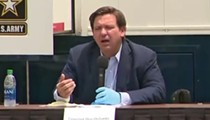Florida Gov. Ron DeSantis wore a single rubber glove at his coronavirus briefing today for some reason