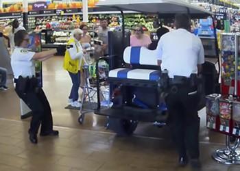Video shows Florida gentleman driving golf cart into same Walmart evacuated on Sunday