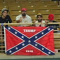 A 'Trump 2016' Confederate flag made its debut and exit at Thursday's Kissimmee rally