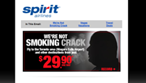"""Spirit Airlines goes for the low-hanging fruit with its """"We're not smoking crack"""" ad"""
