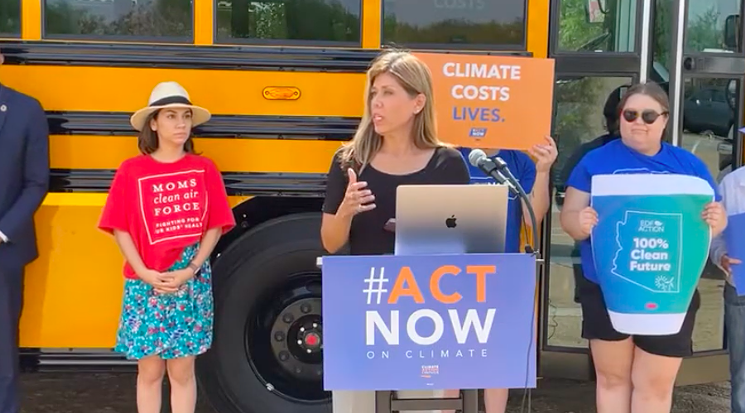 State Senator Rebecca Rios touted the benefits of electric school buses at an event last week. - YOUTUBE