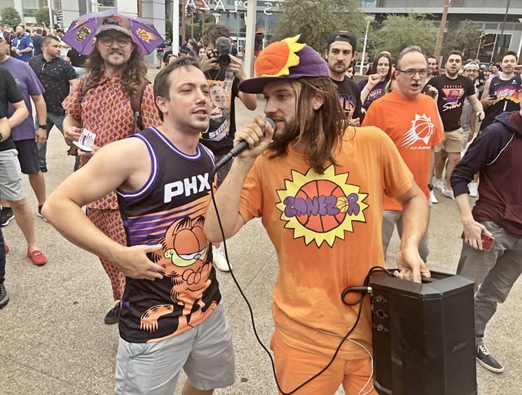 Zanezor raps outside of Footprint Center (then Phoenix Suns Arena) in June. - BENJAMIN LEATHERMAN