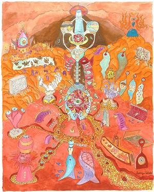 Rodrigo de Toledo, The Mind's Cave, gouache and ink on watercolor paper, 30 x 28 inches. - MESA CONTEMPORARY ARTS MUSEUM