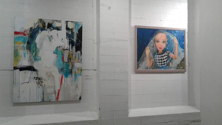 Ann Osgood's White Water and Maggie Keane's Cellophane Girl on view at The Icehouse. - LUCRETIA TORVA
