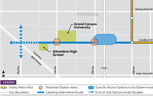 A diagram of the proposed west Phoenix light rail line from 2019. - CITY OF PHOENIX