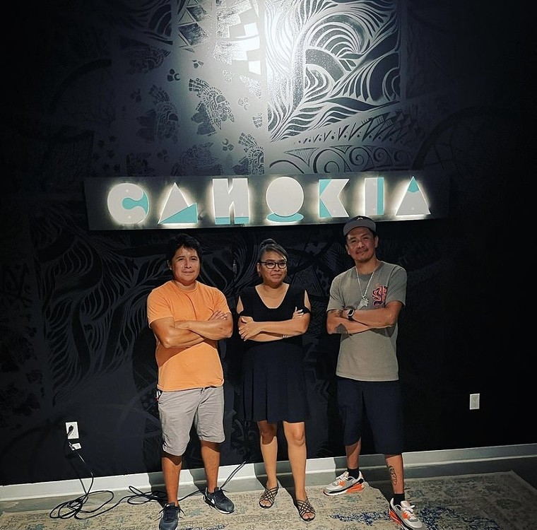 Cahokia co-founder Eunique Yazzie with Cahokia sign designers Brian Skeet Design (L) and Jeremy Arviso (R).  - CAHOKIA