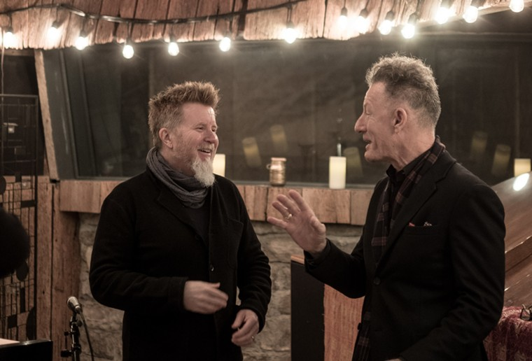 Keyboardist/pianist Matt Rollings (left), a former member of Mr. Lucky's house band The Rogues, with country star Lyle - Lovett, who visited the nightclub in the early '80s. - MICHAEL WILSON