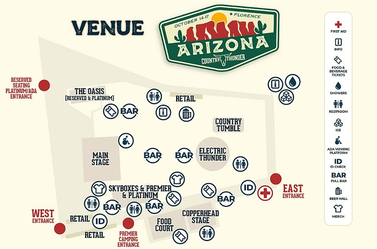 A map to the festival grounds (click the upper right-hand corner to enlarge). - COUNTRY THUNDER