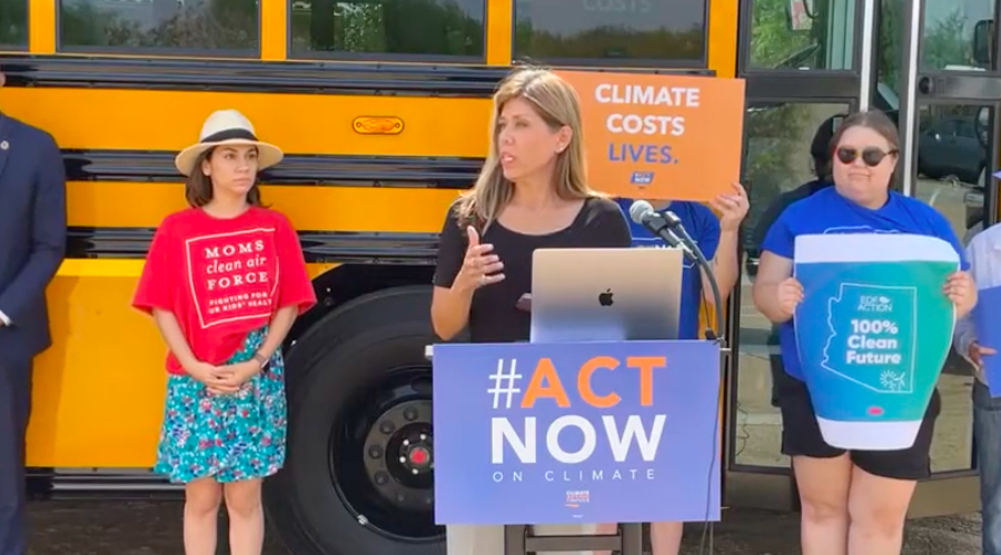 State Senator Rebecca Rios touted the benefits of electric school buses at an event last week.