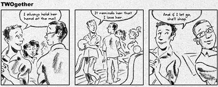 A cartoon from the TWOgether Pittsburgh marriage ad.