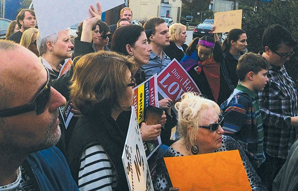A crowd of about 100 gathered in Lawrenceville on Oct. 9 to protest the Oct. 6 beating of Ben Stoviak.