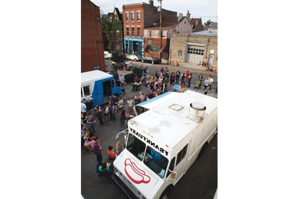 A Food Truck Roundup, featuring the Franktuary Truck and the Pierogi Truck, took place July 28 at a parking lot on 43rd Street near Butler Street in Lawrenceville.