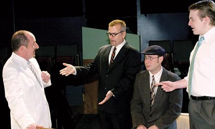 A funny thing: (from left) Art DeConciliis, Jesse Warnick, Buddy Wickerham and Grant Carey in Laughter on the 23rd Floor, at Little Lake Theatre