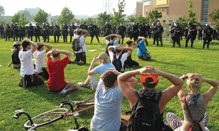 A group of protesters are detained by St. Paul police. - PHOTO BY SAM STOKER