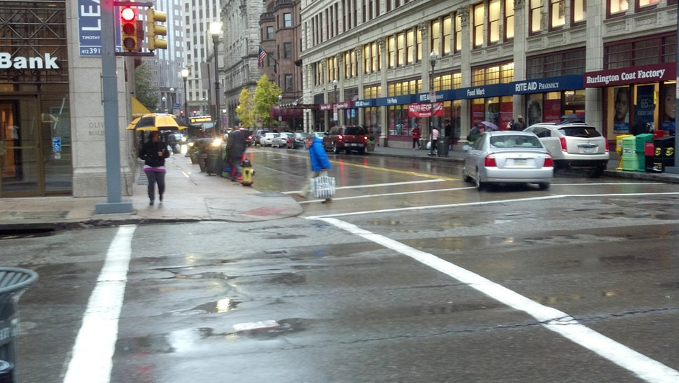 A high wind warning is in effect for Pittsburgh. As of Monday afternoon, heavy rain pelted those who ventured out and winds upended umbrellas.