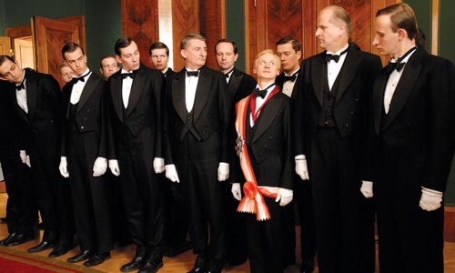 A highly decorated waiter: Ivan Barnev portrays Jan Dte (center, in sash).