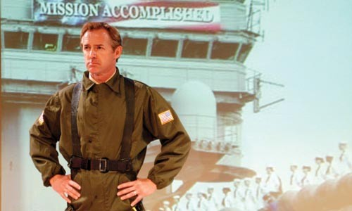 A job well done: David Whalen plays George W. Bush in PICT's Stuff Happens. Photo by Suellen Fitzsimmons.