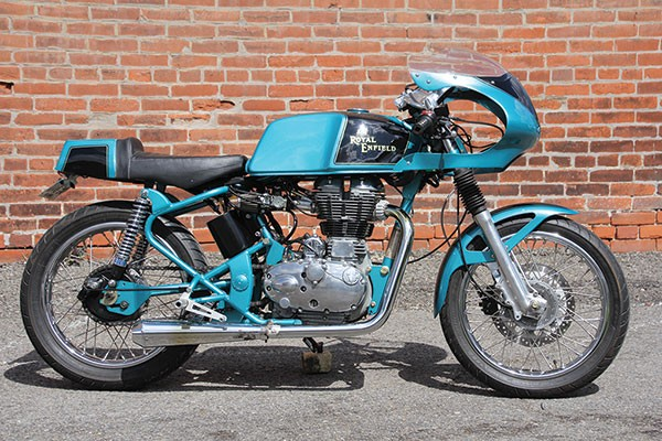 A Royal Enfield café racer, property of Mike Seate