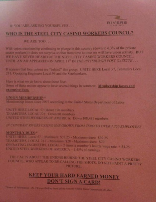 A sign Rivers Casino employees say was posted Tuesday in their workplace.