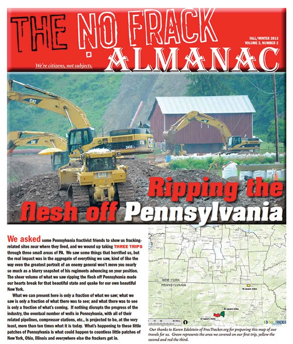 A trooper with Pennsylvania State Police went to New York to question the editor of this anti-fracking website