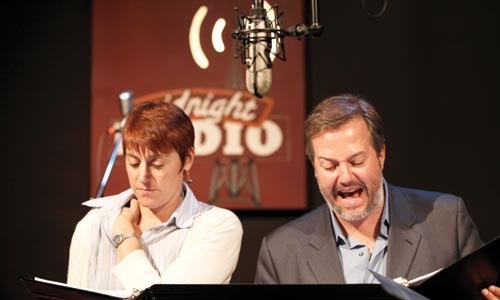 Actors Lisa Ann Goldsmith and Jason McCune rehearse for Midnight Radio. - HEATHER MULL