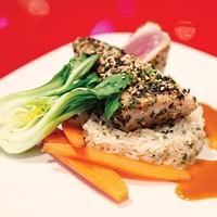 Ahi tuna, with rice, baby bok choy and carrots