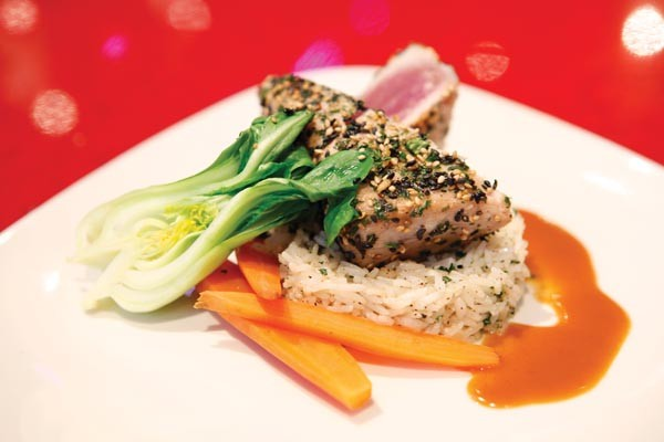 Ahi tuna, with rice, baby bok choy and carrots - PHOTO BY HEATHER MULL
