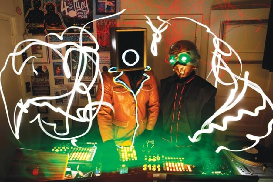 All hands on the decks: Tracksploitation's JCT 45 and Professor ASAP - PHOTO BY HEATHER MULL