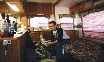 All the comforts of home: Jeremy Papay kicks back post-show in his RV. - HEATHER MULL