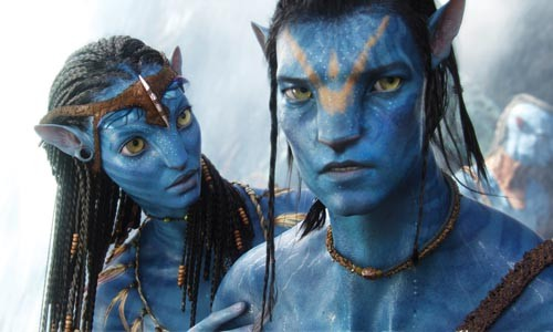 Am I blue: Neytiri (Zoe Saldana) and Jake-the-avatar (Sam Worthington) make a connection.