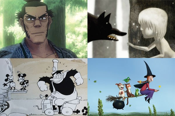 "Among the Oscar-nominated shorts (clockwise from top left): ""Possessions,"" ""Feral,"" Room on the Broom"" and ""Get a Horse!"""